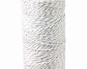 BLEACHED white with Silver TINSEL - Bakers Twine 240 yard spool - String for crafting, gift wrapping, packaging, invitations