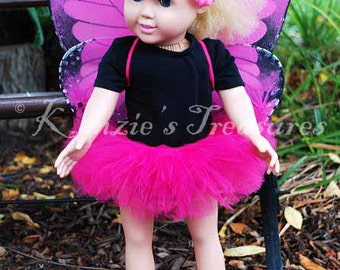 """4-Piece Pink Monarch Butterfly Tutu Outfit for 18"""" and 15"""" Dolls - Fits American Girl Dolls and My Generation Dolls"""