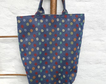 Small tote with shoulder strap blue with polka dots