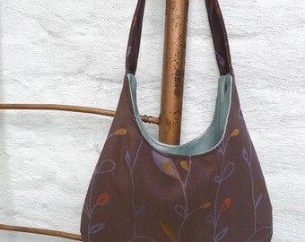 The Lady Shoulder Bag, brown with leaves