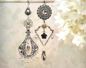 Enchantment - Romantic Bohemian Mixed Metals Dangle Earrings Gothic Gypsy Filigree Jewelry Bronze Pyrite Rose Chandelier Earrings Grey Brown