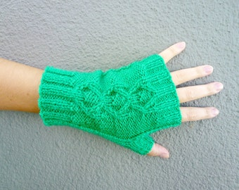Short Fingerless Gloves, Kelly Green Hand Knitted Gloves, Bright Green Womens Gloves, Spring Fashion, Autumn Fall, Teenagers - Kelly Green