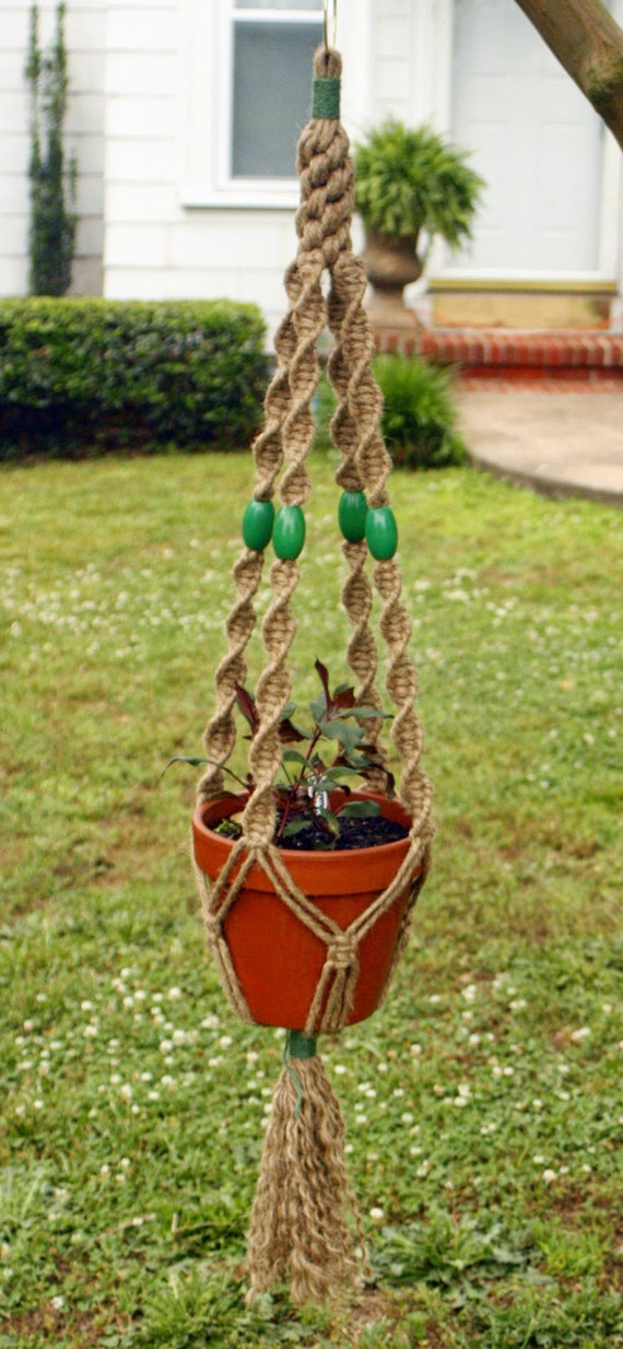 Handmade Jute Baskets : Jute macrame plant hanger handmade natural hanging basket