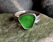 Martha's Vineyard Sea Glass Ring, Green Sea Glass Ring