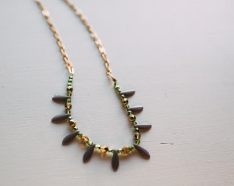 Lavender Spike and Gold Chain Necklace