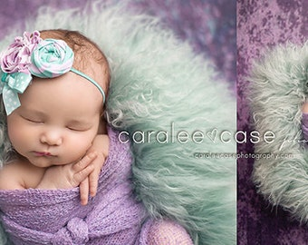 Sea of Orchids-- orchid and mint sea green rosette and chiffon headband with bow