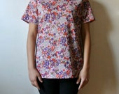 Vintage Floral Print Blouse - Brady Bunch Flower Power Shirt - Size Medium Large