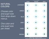 Choice: One Size Dark Shades  2mm, 3mm, 4mm Eyes. lavender, green, blue, grey, hazel, brown. Natural dark colors flat eyeballs