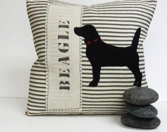 Beagle Pillow - Decorative Throw Pillow Cushion Cover with Black Beagle Felt Applique
