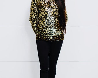 Vintage Black and Gold Abstract Animal Print Sequin Top or Mico Mini Dress
