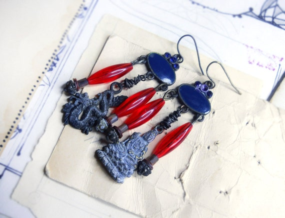 Beaded Chandelier Earrings - Buddha & Dragon - Rustic Assemblage Earrings - Mismatch - Blue, Red - Oxidized Metal Charms