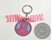 CIRCLE Monogram Personalized Glitter Keychain Key Chain-  Bride, Bridesmaid,  Air Force Wife, Army Wife