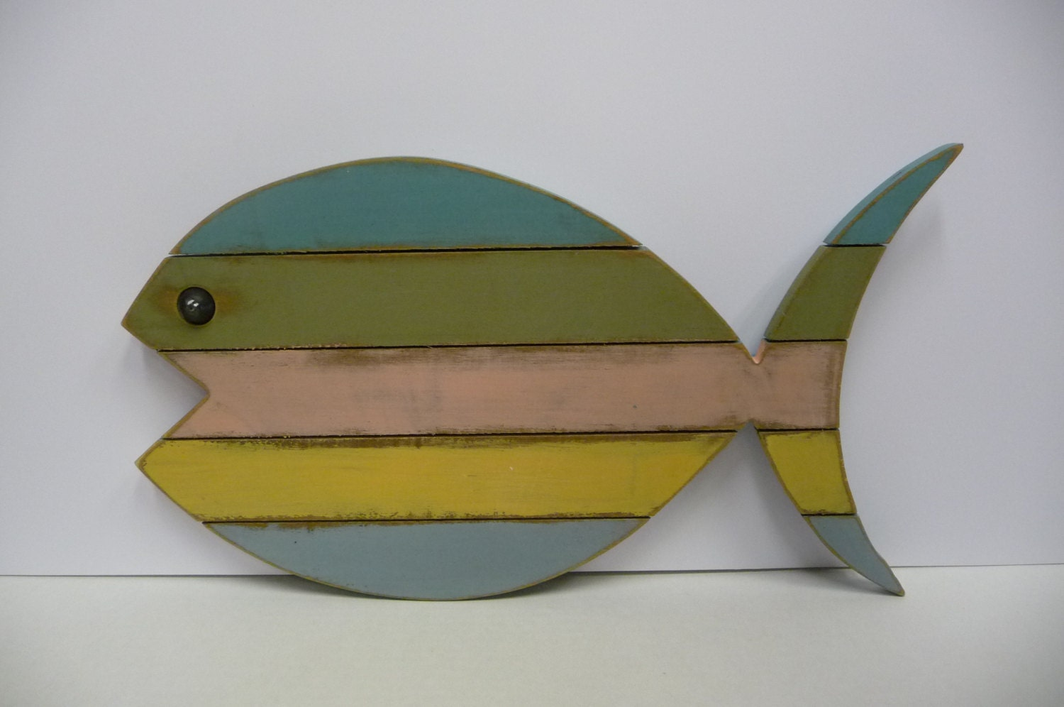 Fish Wall Decor Wood : Painted wood fish wall art beach lake cottage nautical decor