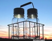 Solar Lights in Bottle Carrier, Ball Mason Jar Clear Glass Lanterns, Antique Dairy Basket Outdoor Country Lights Solar Mason Jars