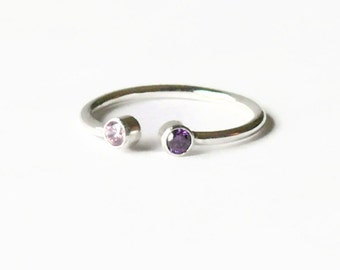 Dual stone ring multistone ring Sterling silver ring with stone gemstone ring two stone ring his and her stone ring couple ring