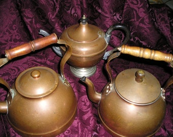 Vintage Shabby Chic European French NordicTrio Old Copper,Wood Handled Tea Kettles/Coffe Pots Estate Box Lot