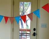 Funky Pink TURQUOISE and Lime Green Color Scheme  Fabric Bunting Banner, Flags, Party Pennants, Reusable Party Decorations