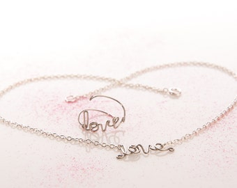 Love necklace & Love ring - Matching Set Love Jewelry - Adjustable Love Ring AND Love Necklace OR Bracelet