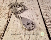 Pewter hand stamped irish gaelic necklace anam cara soul mate celtic trinity knot celtic font teardrop shape pendant personalized jewelry