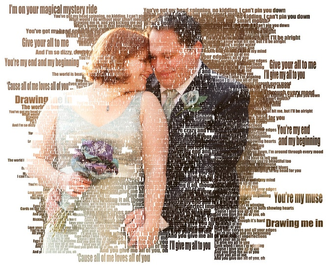 Custom Photo Gift Portrait On Canvas Wedding Vows Song Lyric Gift 20x24