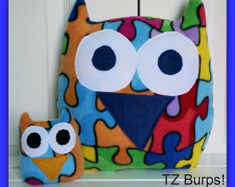 XL Autism Awareness Owl - Plush Owl - Jigsaw Owl - Bright