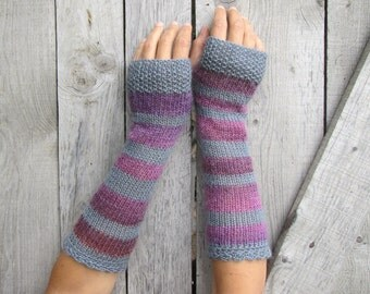 Long Fingerless Gloves, Arm Warmers, Womens Hand Gloves, Fingerless Mittens, Stripes Knit Gloves, Wrist Warmers, Grey, Purple Mitts, SALE