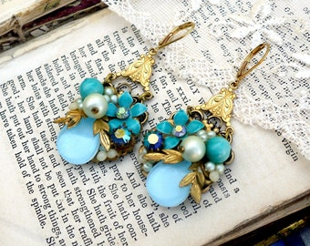 Aqua Bouquet, Miriam Haskell Style Vintage Turquoise Enamel Flowers and Rhinestone Altered Vintage Assemblage Earrings