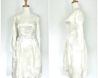 1950s Wedding Dress - 50s dress - bridal - bridesmaid - ivory dress - tea dress - fit and flare - satin - XS
