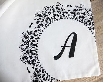 SALE Doily Tote Bag with Letter A Monogram / Personalized Gift for Woman Screenprinted Design White and Black