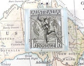 Vintage Australia Roman god Mercury Postage Stamp Necklace Pendant