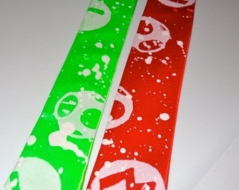 pick ONE red MARIO or green LUIGI mens skinny tie