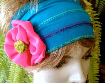 Turquiose Wide adult headband with hot pink flower workout yoga headband