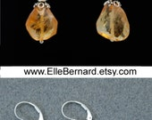 Citrine gemstone earrings in Sterling Silver with Swarovski crystals for PROTECTIVE ABUNDANCE: