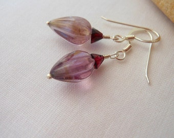 Carved Amethyst Garnet Fuchsia Bud Earrings Sterling Silver February Birthstone