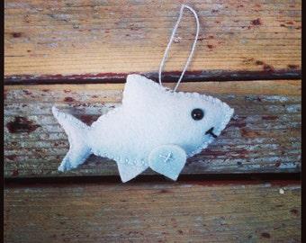 wool felt shark christmas ornament / key chain / mobile attachment / car mirror ornament
