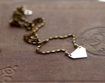 Sterling Silver Arrow on Antique Brass Chain Necklace