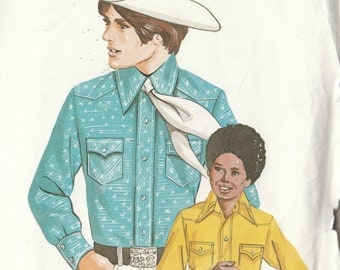 Vintage Sewing Junior Mens or Boys Classic Western Cowboy Shirt 70s or 80s Style Size 30-34-1/2 Uncut Kwik Sew