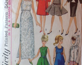 "Vintage Mad Men FASHION DOLL Wardrobe 11-1/2"" Fashion Doll Sewing Pattern Barbie Midge Misty 1965 Dresses Gowns Coat Pants Jacket Suit Gown"