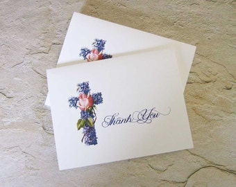 Religious Cross Note Cards, Thank You or Sympathy, Violets and Rose, Set of Ten, Blank Inside, Baptism, Communion, Wedding, Condolence Cards