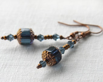 4th July Magical Blue Lantern Earrings Czech Vintage Beads Blue Gray Crystals Tiny Copper Seed Beads Oriental Ancient Mysterious Gift