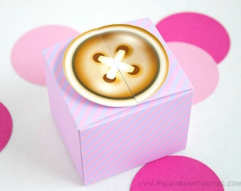 Sew Cute Button Favor Box : Gold Button with Stripes // DIY Printable Cute as a Button Gift Box PDF - Instant Download