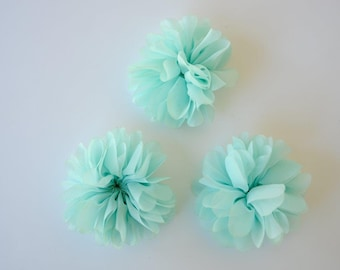 3 chiffon flowers with scalloped edges, aqua chiffon flower