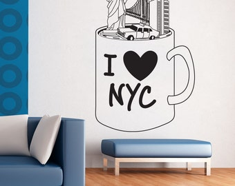 Vinyl Wall Art Decal Sticker NYC Mug OSDC732B