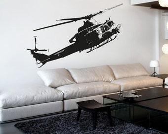 Vinyl Wall Decal Sticker Flying Helicopter 5054B