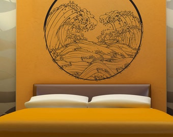 Vinyl Wall Decal Sticker Japanese Wave Circle 1364m