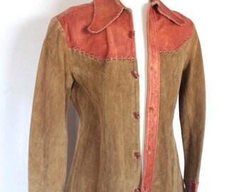 Rare Vintage 1970's Jacket // 70s Designer Char Two Tone Suede and Leather Men's Hippie Jacket // DIVINE