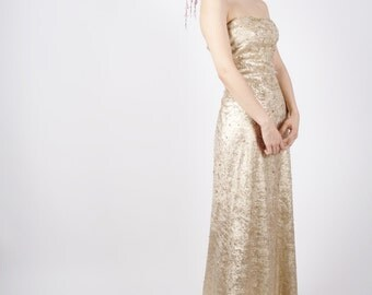 Vintage Beaded Dress - Strapless Gold Dress - Gold Gown - Vintage Metallic - 4050