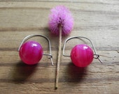 Modern Pink agate hoop earrings, fuchsia stone hoops