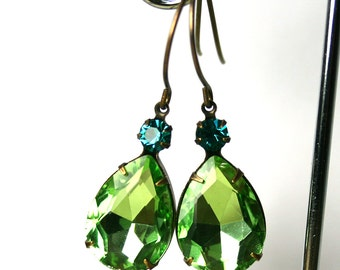 ON SALE - Green Vintage Jewel Earrings - One Of A Kind- Peridot And Blue Zircon Crystal Earrings With Antique Brass - Vintaj Earwires