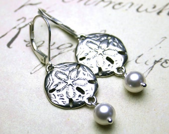Sand Dollar and Pearl Earrings - Sterling Silver and Swarovski Crystal Pearl Earrings with Sterling Silver Leverbacks